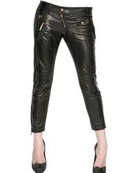 DSquared² Cropped Biker Nappa Leather Trousers - Lyst