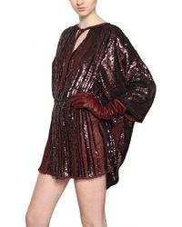 Maurizio Pecoraro Sequined Silk Georgette Dress purple - Lyst