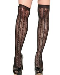 RED Valentino Stitched Bows Over The Knee Socks - Black