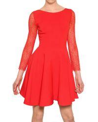 Antonio Berardi Lace Sleeve Rayon Cady Dress - Lyst