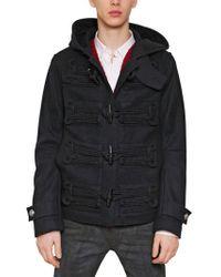 Balmain Wool Felt Hooded Duffle Coat - Lyst