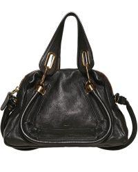 Chloé Mini Paraty Grained Leather Top Handle black - Lyst