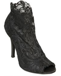 Dolce & Gabbana 110mm Stretch Lace Open Toe Low Boots - Lyst