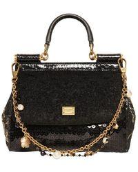 Dolce & Gabbana Small Miss Sicily Wool Bouclé Top Handle black - Lyst