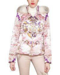 Emilio Pucci Fox Fur Printed Techno Satin Jacket - Lyst