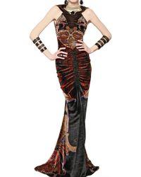 Etro Printed Viscose Silk Velvet Long Dress - Lyst