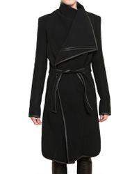 Gareth Pugh - Leather Stretch Wool Cloth Coat - Lyst