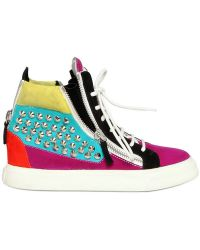 Giuseppe Zanotti 20mm Suede Multicolor Studded Sneakers - Lyst