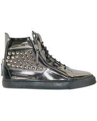 Giuseppe Zanotti Patent Mirror Metal Studded Sneakers - Lyst
