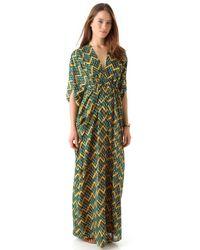 Issa Chiffon Caftan Maxi Dress - Green