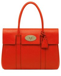 Mulberry Bayswater Shiny Grained Leather Bag red - Lyst