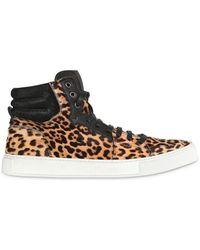 Saint Laurent Malibu High Leopard Print Pony Sneakers - Lyst