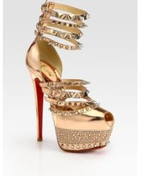Christian Louboutin Isolde Studded Metallic Leather Platform Sandals - Lyst
