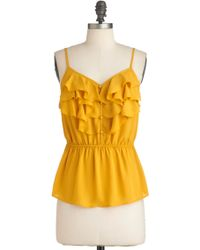 ModCloth V Drop Everything Top in Lemon - Lyst