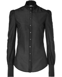 McQ by Alexander McQueen Black Sheer Blouse - Lyst