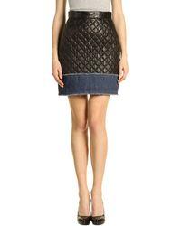 D&G Leather Skirt black - Lyst