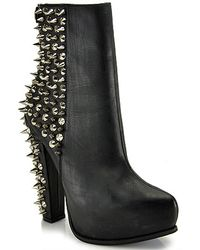 Jeffrey Campbell Avalos Black Leather Spiked Platform Bootie - Lyst
