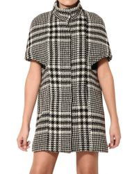 Space - Houndstooth Wool Blend Coat - Lyst