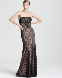 Sue Wong Sw Studio By Lace Gown Strapless - Lyst