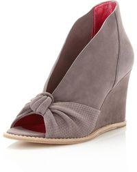 Belle By Sigerson Morrison Knotted Peeptoe Wedge Taupe - Gray