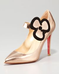 Christian Louboutin Pensee Mary Jane Flower Pump Nude - Lyst