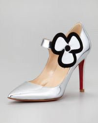 Christian Louboutin Pensee Mary Jane Flower Pump Silver - Lyst