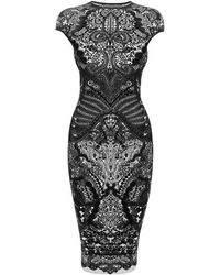 Alexander McQueen Black Victorian Puckering Lace Jacquard Capsleeve Pencil Dress - Lyst