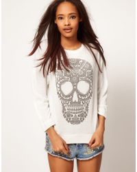 ASOS Collection Asos Jumper in Loose Knit with Henna Skull white - Lyst