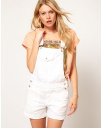 ASOS Collection - Denim Dungarees In White - Lyst
