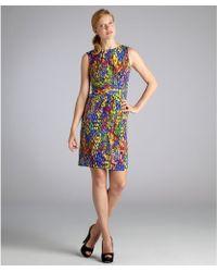 Ellen Tracy  Dash Print Jersey Sleeveless Ruched Waist Dress - Lyst