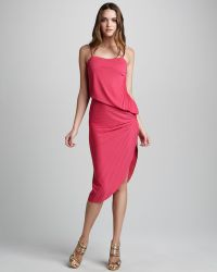 Halston Heritage Pleated Asymmetric Dress - Lyst