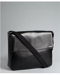 Calvin Klein Black Leather Foldover Messenger Back - Lyst