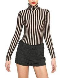 Moschino Turtle Neck Striped Wool Knit Sweater - Lyst