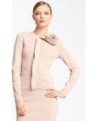 Valentino Rosette Detail Cardigan pink - Lyst