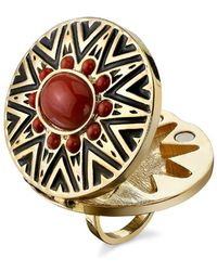 House Of Harlow 1960 Tribal Ring With Coral Cabochon red - Lyst