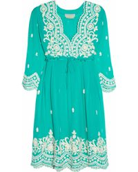 Leaves Of Grass - Aria Embroidered Silk Chiffon Dress - Lyst
