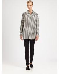 Donna Karan New York Slim Zipper Pants - Lyst