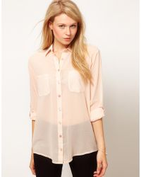 ASOS Collection Pastel Shirt with 34 Length Sleeves beige - Lyst