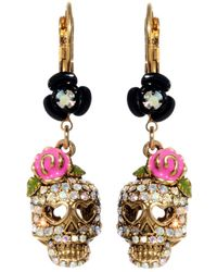 Betsey Johnson Crystal Skull And Flower Drop Earrings pink - Lyst