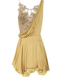 Julien Macdonald Embellished Silksatin and Lace Dress - Lyst
