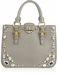 Miu Miu Crystal Embellished Studded Leather Tote gray - Lyst