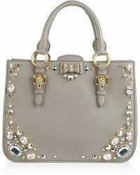 Miu Miu Crystal Embellished Studded Leather Tote - Lyst