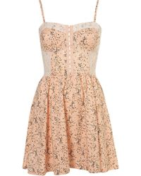 Topshop Floral Lace Flippy Tunic pink - Lyst