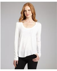 A.L.C. White Jersey Scoop Neck Long Sleeve Tshirt - Lyst