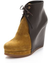 Jil Sander Lace Up Wedge Booties - Lyst