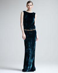 Oscar de la Renta Crushed Velvet Sideslit Gown - Lyst