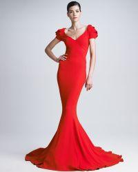 Zac Posen Stretch Crepe Mermaid Gown - Lyst