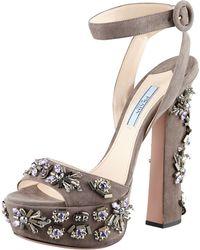Prada Jeweled Suede Sandal - Lyst