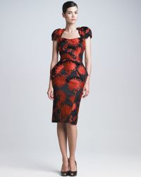 Zac Posen Peony Jacquard Peplum Dress - Lyst