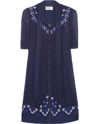 Alice By Temperley Mini Beatrice Embroidered Georgette Dress - Blue